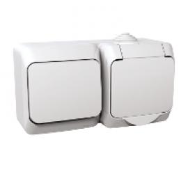 WDE000500 Priza 2P+E + Intrerupator IP44 PT Schneider Electric Cedar Plus, alb