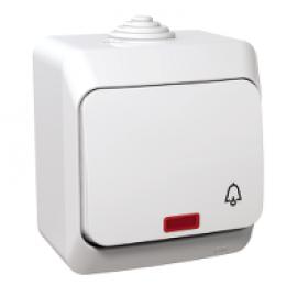 WDE000515 Push switch, 1-pole, lamp, bell symbol., white