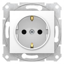 Priza simpla 2P+E, obturatoare 16A, 250V c.a. SEDNA Schneider Electric, alb