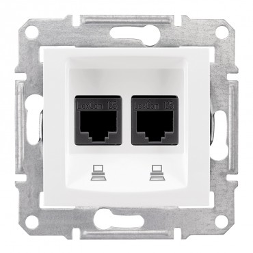 SEDNA Double data outlet white