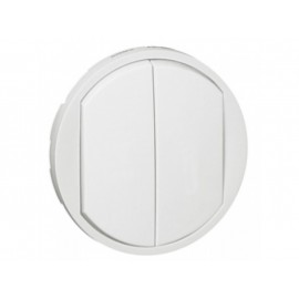 Placa intrerupator dublu/buton Celiane Legrand, alb