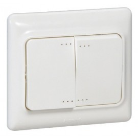Intrerupator dublu LED Legrand Kaptika, rama inclusa, alb