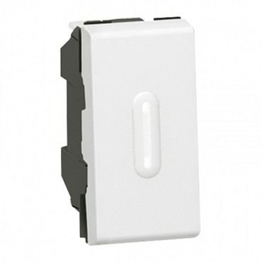 077032 LEGRAND MOSAIC 2-way push-button Mosaic - with LED indicator - 6 A 250 V~ - 1 module - white