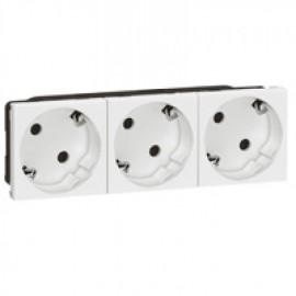 077253 LEGRAND MOSAIC Multi-support multiple socket Mosaic - 3 x 2P+E automatic terminals - standard