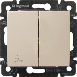 2x2 Way Switch IP44 Valena Legrand, ivory